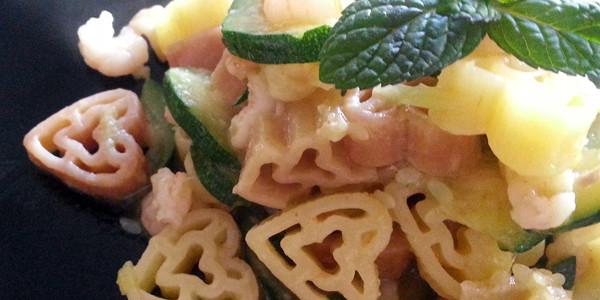 Cuori con zucchine e gamberetti alla menta