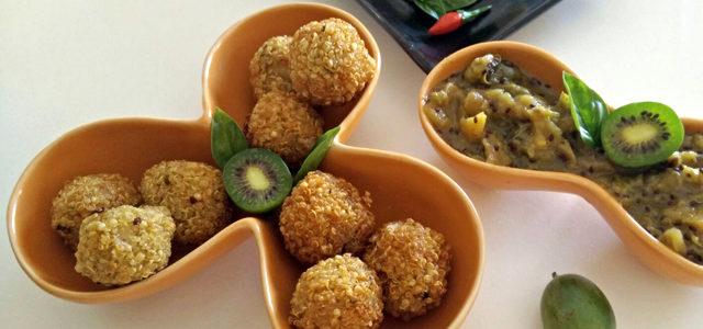 Polpettine di quinoa e chutney di mini kiwi